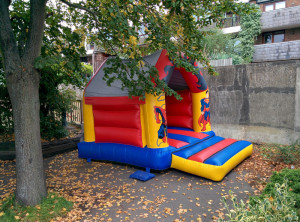 Bouncy castle in the garden area